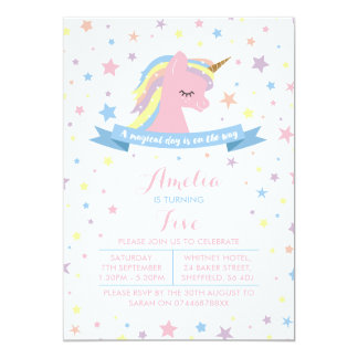 Unicorn themed birthday party invitation