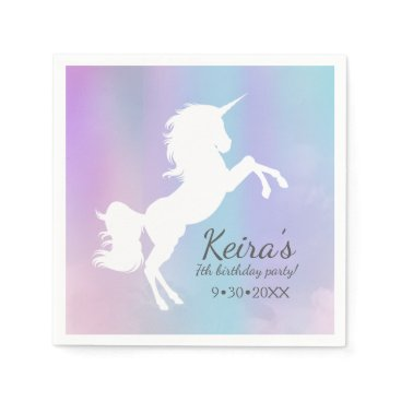 Beach Themed Unicorn themed, cotton candy color, event details paper napkin
