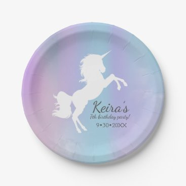 Beach Themed Unicorn themed, cotton candy color, event details paper plate