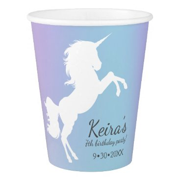 Beach Themed Unicorn themed, cotton candy color, name, date, paper cup