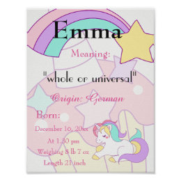 Unicorn themed Name meaning keepsake nursery Poster