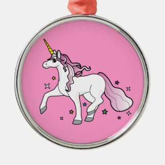 Unicorn Trotting though the Stars Metal Ornament