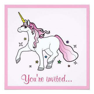 Unicorn Trotting through Stars Birthday Invitation