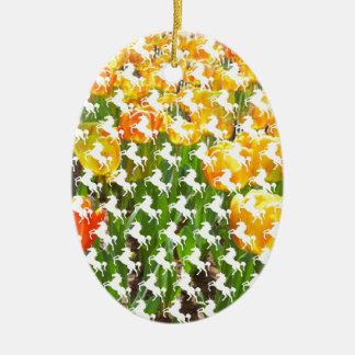 Unicorn Tulip Party Ceramic Ornament