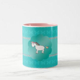 Unicorn turquoise butterflies Two-Tone coffee mug