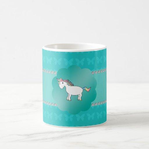 Unicorn turquoise butterflies classic white coffee mug