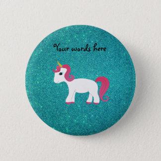 Unicorn turquoise glitter button