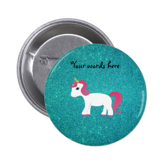 Unicorn turquoise glitter 2 inch round button