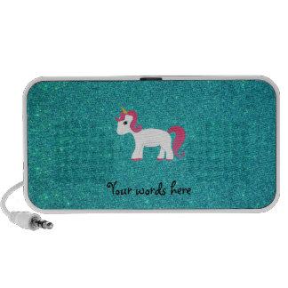 Unicorn turquoise glitter notebook speakers