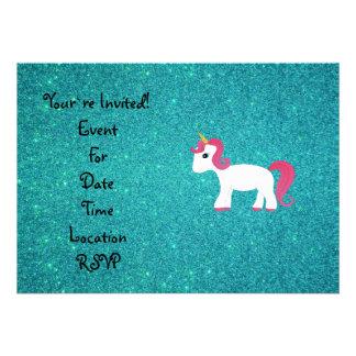 Unicorn turquoise glitter personalized invitation