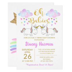 Unicorn Twins Pastel Rainbow Clouds Baby Shower Invitation