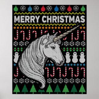 Unicorn Ugly Christmas Sweater Wildlife Series Poster