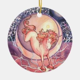 Unicorn, Universe Double-Sided Ceramic Round Christmas Ornament