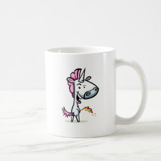 Unicorn urinating the rainbow classic white coffee mug
