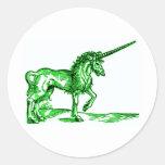 UNICORN vintage print c.1551 in green Classic Round Sticker