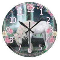 Unicorn Wall Clock, Unique Unicorn fantasy art Large Clock