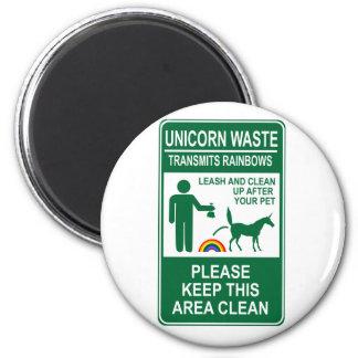 Unicorn Waste Sign 2 Inch Round Magnet