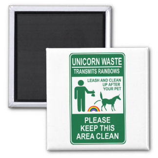 Unicorn Waste Sign 2 Inch Square Magnet
