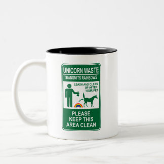 Unicorn Waste Sign Two-Tone Coffee Mug