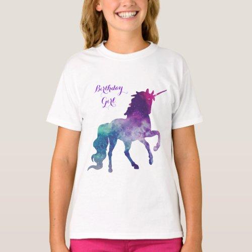 Unicorn Watercolor Silhouette  Birthday Girl T_Shirt