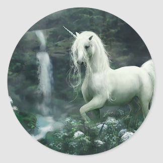 Unicorn Waterfall Classic Round Sticker