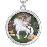 Unicorn White Beauty Angel Necklace Round Pendant Necklace