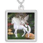 Unicorn White Beauty Angel Necklace Square Pendant Necklace