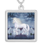 Unicorn White Beauty Necklace Square Pendant Necklace