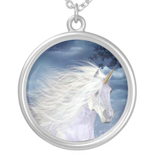 Unicorn White Beauty Necklace Round Pendant Necklace