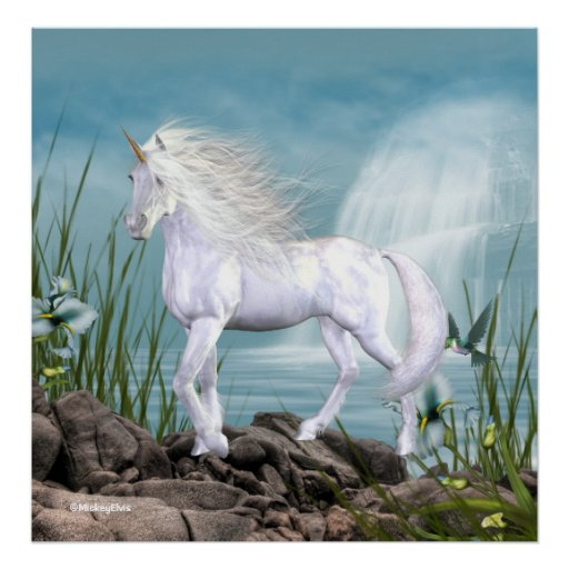 Unicorn White Beauty Print