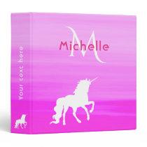 Unicorn white on pink pastel with monogram name binder