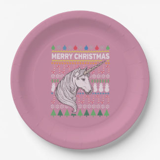 Unicorn Wildlife Merry Christmas Ugly Sweater Paper Plate