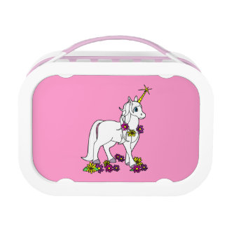 Unicorn with Flowers Pink Lunch Box