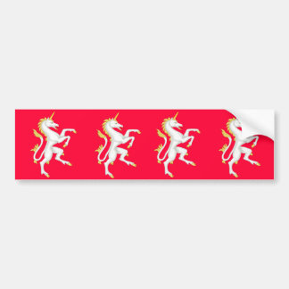 Unicorn with Golden Horn and Tail. Car Bumper Sticker