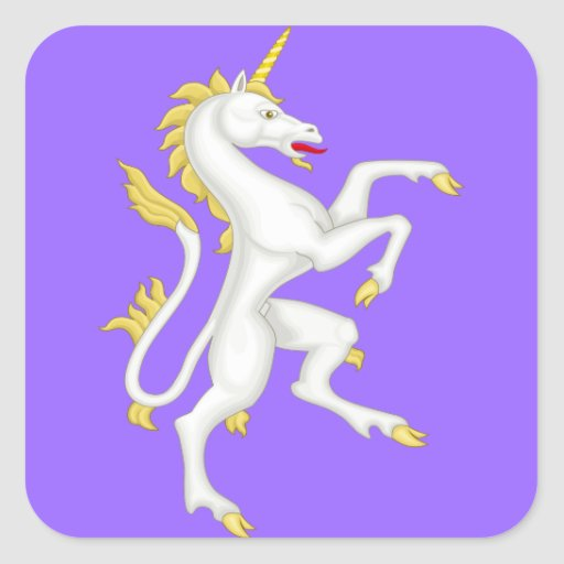 Unicorn with Golden Horn and Tail. Square Sticker