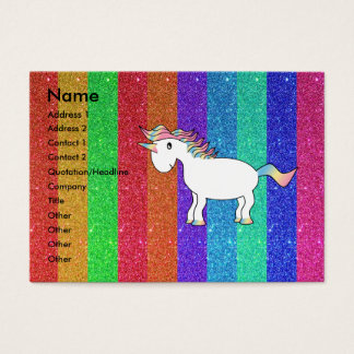 Unicorn with rainbow glitter stripes business card