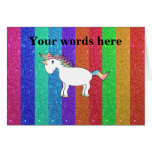 Unicorn with rainbow glitter stripes greeting cards