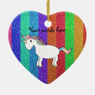 Unicorn with rainbow glitter stripes ceramic ornament
