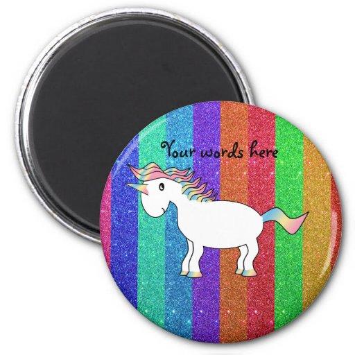 Unicorn with rainbow glitter stripes fridge magnet