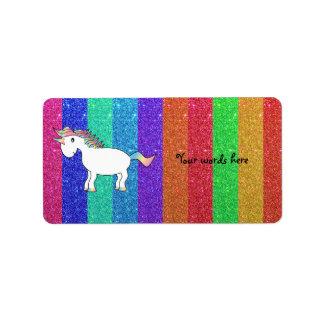 Unicorn with rainbow glitter stripes address label