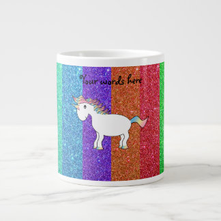 Unicorn with rainbow glitter stripes large coffee mug