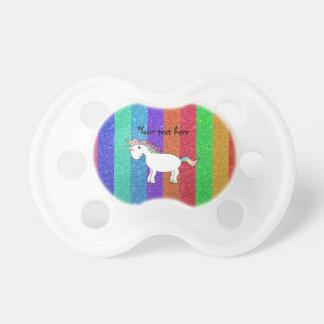 Unicorn with rainbow glitter stripes BooginHead pacifier