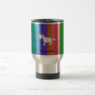 Unicorn with rainbow glitter stripes travel mug