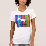 Unicorn with rainbow glitter stripes tshirt