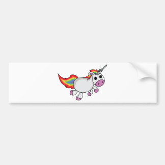 Unicorn with Rainbow Mane and Tail Car Bumper Sticker