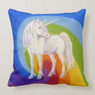 Unicorn with Rainbow square pillow