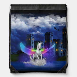 Unicorn With Rainbow Wings Drawstring Backpack