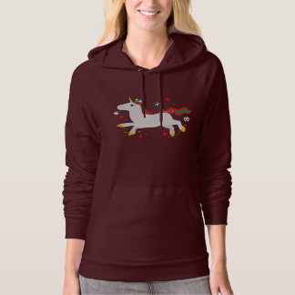Unicorn with Stars at Christmas Hooded Pullovers