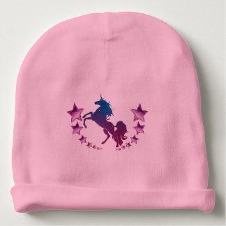 Unicorn with stars baby beanie