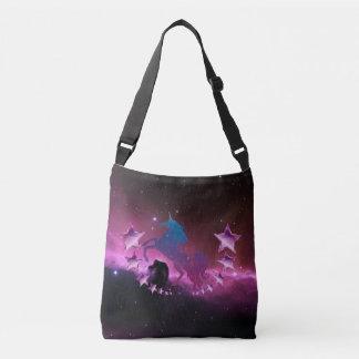 Unicorn with stars crossbody bag